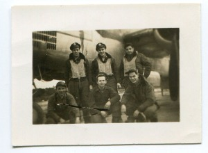 B-25 crew from the 321st, 445th. From left to right front: Carney, Lile, Lowrey; Top: Doe, Knauss, Epstein.