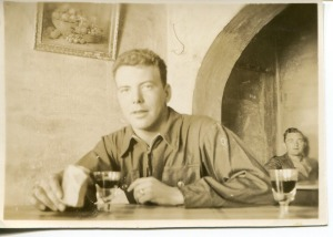 WWII soldier in taverna.