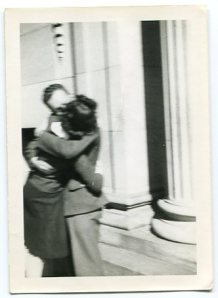"Keith B. Lile and the mysterious ""Betty"" kissing on the capitol steps in Denver, CO."