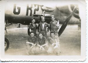 B-25 training crew in Greenville, SC. From left to right front: Doe, Knauss, Stout; Back: Lile, Carney, Lowrey.